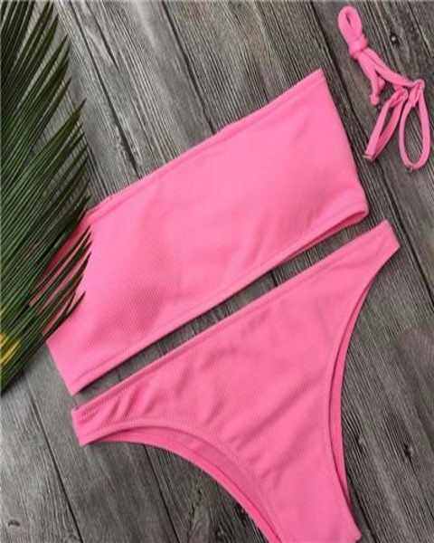 Aimee Bandeau Bikini Set Available in White, Green, Yellow, Pink, Black and Red Size: Small, Medium and Large
