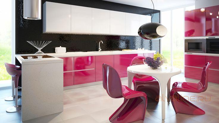 Кухня Россо, интегрированный в каркасы единый алюминиевый профиль.