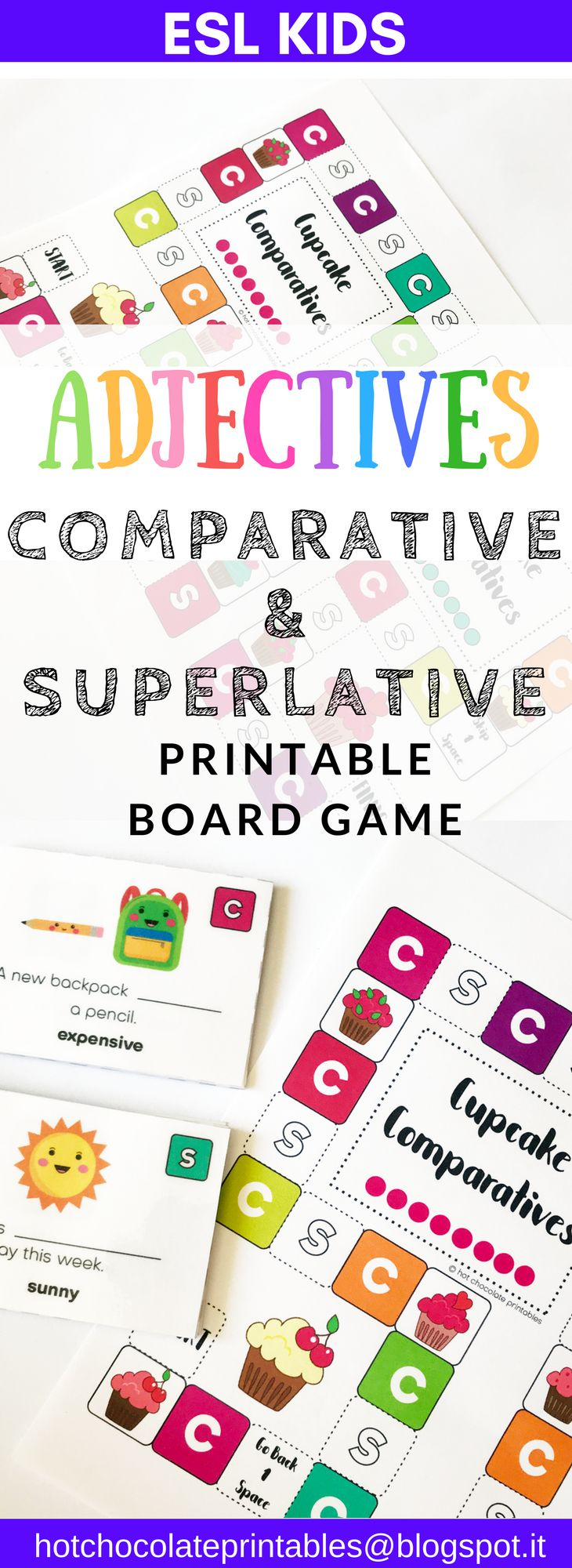 Need a great game to practice forming sentences using long and short comparative and superlative adjectives in English? Here it is!  Students can practice and review making sentences in the positive form. One, two and three syllable regular adjectives and a few irregular ones too!
