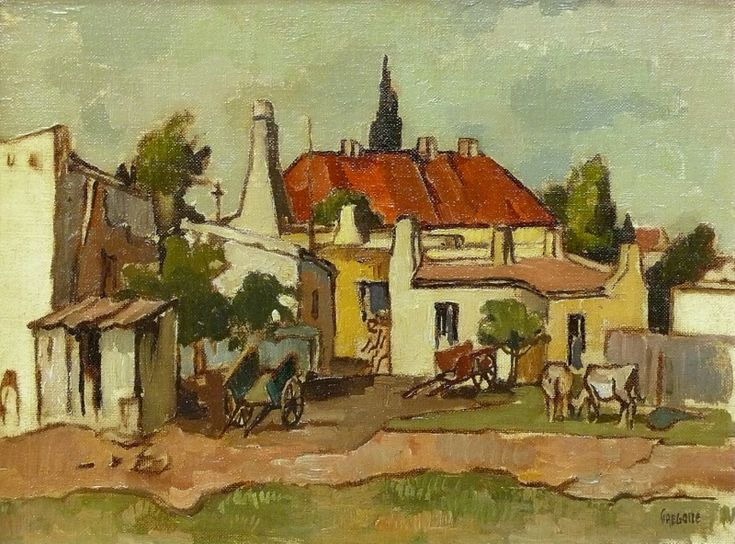 Sold | Boonzaier, Gregoire | Red roof buildings  Carts | Oil on canvas board | Size : 300 x 400mm | Code : 9287