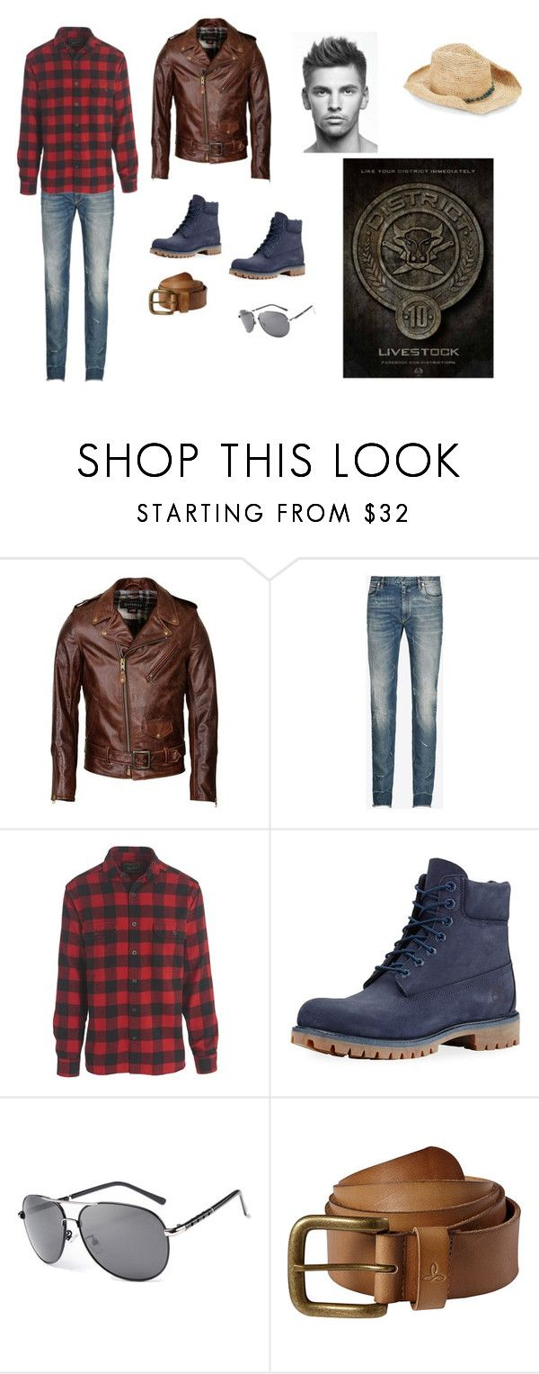 """""""Men District 10"""" by queenmatt9 on Polyvore featuring Schott NYC, Maison Margiela, Oxbow, Timberland, prAna, San Diego Hat Co., men's fashion and menswear"""