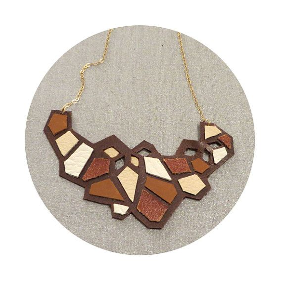 Geometric Leather necklace by maayanhus on Etsy