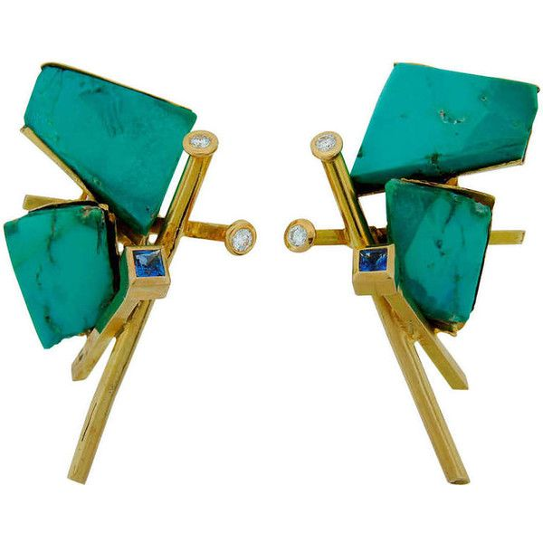 Preowned Thierry Vendome Turquoise Tanzanite Diamond Yellow Gold... (£7,130) ❤ liked on Polyvore featuring jewelry, earrings, yellow, turquoise jewelry, diamond jewelry, yellow gold earrings, turquoise earrings and gold jewelry