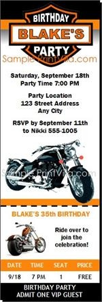 LOVE THIS INVITATION!  Motorcycle Birthday Party Ticket Invitation from Print Villa...personalized just for you!