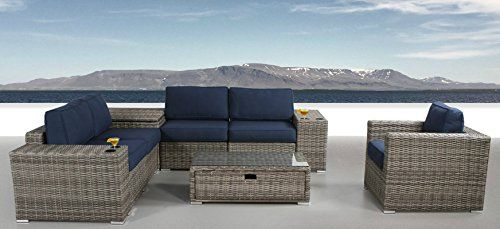Patio Furniture Sunbrella Cushion | PE Rattan Outdoor Wicker Sectional Conversation Black Washable Seat Cushions & Glass Coffee Table | Patio, Backyard, Antibes Collection (9 Piece Coffee Table) Feature: ✓ ENTERTAIN IN STYLE WITH RESORT GRADE FURNITURE: Resort grade furniture set arrives ready to use without the hassle of assembly required! Set's sleek design features a square shape with clean lines that elevate your backyard or patio decor. Make any outdoor living space your own personal…