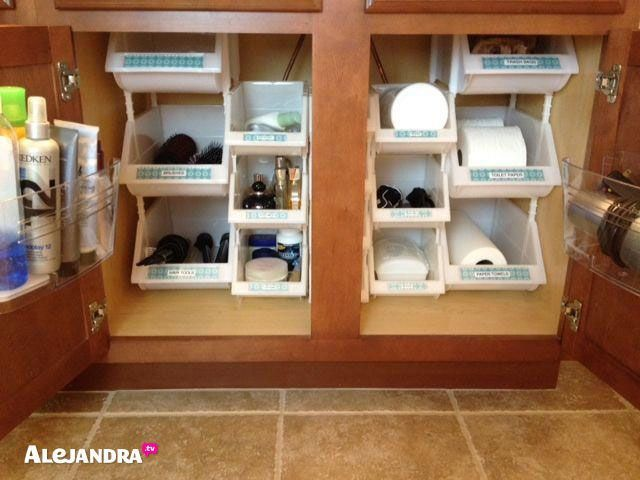 40+ Brilliant DIY Storage and Organization Hacks for Small Bathrooms --> How to maximize space in your bathroom cabinet