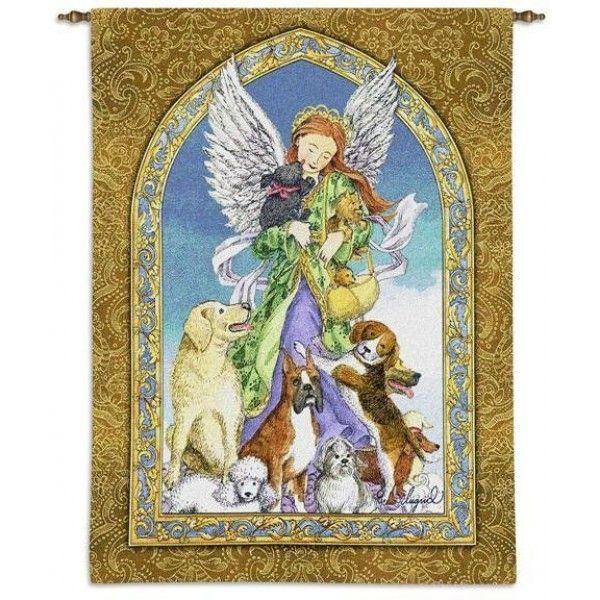 """Гобелен """"Ангел  собак""""   с деревянным карнизом"""