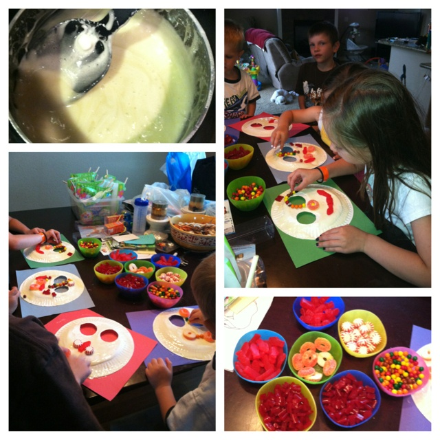Junk food masks! A sweet craft that keeps kids entertained. Use the back of a paper plate for the mask, melted marshmallow in a pan for glue, and junk food for decoration. Using marshmallow as the glue makes almost the whole thing edible for later.