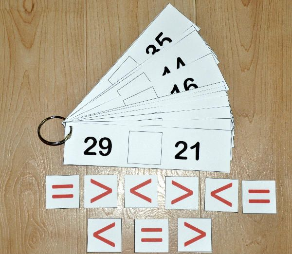 "Greater Than or Less Than Flipstrips 1-The Greater Than/Less Than Flipstrips 1 are a math activity. In this activity students complete each flipstrip with a ""greater than,"" ""less than,"" or ""equal"" sign when comparing two numbers. This activity works well in both independent work stations and math centers."