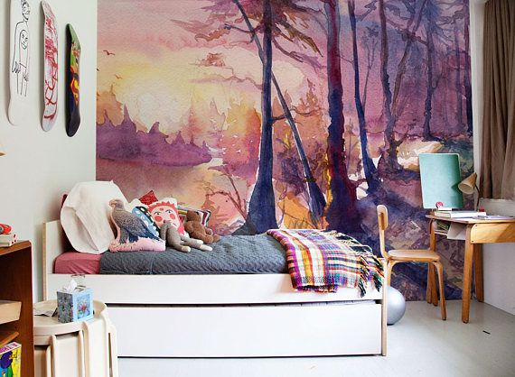 Beautiful Drawing Forest Landscape Removable Wallpaper Peel Etsy Wall Murals Forest Landscape Beautiful Drawings