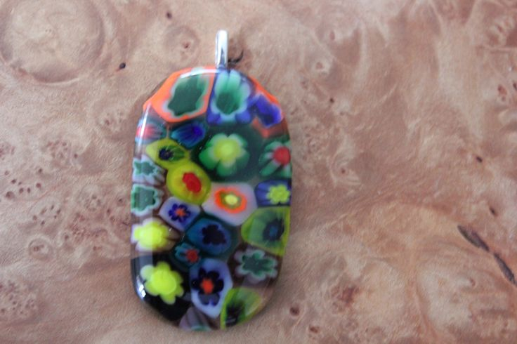 Beautiful Mille Fiori fused on clear base glass