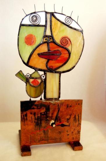 reloj de pie de vidrio  vidrio,metal tiffany                                                                                                                                                                                 Más