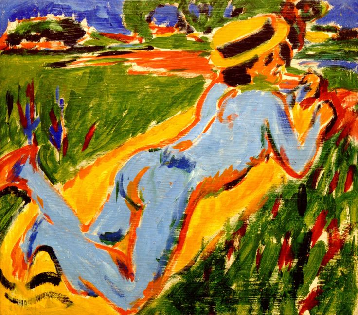 Ernst Ludwig Kirchner ~ Liggend blauw naakt met strohoed ~ 1908-1909 ~ Olieverf op karton ~ 68 x 72 cm. ~ Pariculiere verzameling, Offenburg
