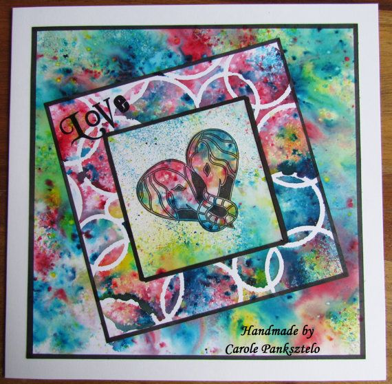 Love  Quality 8x8 handmade card depicting Claritystamp elephants by CraftyMrsPanky available at my shop on www.etsy.com