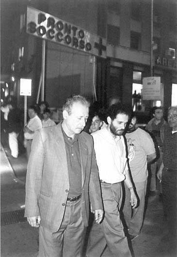 Paolo Borsellino e Antonio Ingroia all'Ospedale dopo attentato a Falcone