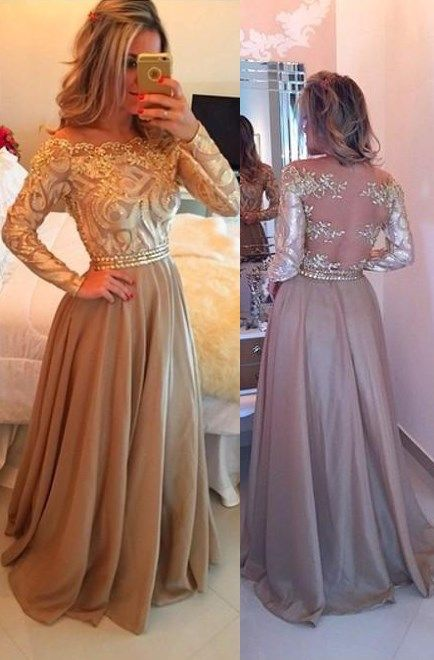 Hot Selling A-Line Cowl Floor Length Gold Prom Dress,Long Prom dresses, Sexy Prom Dresses,Long Sleeves Evening Dresses