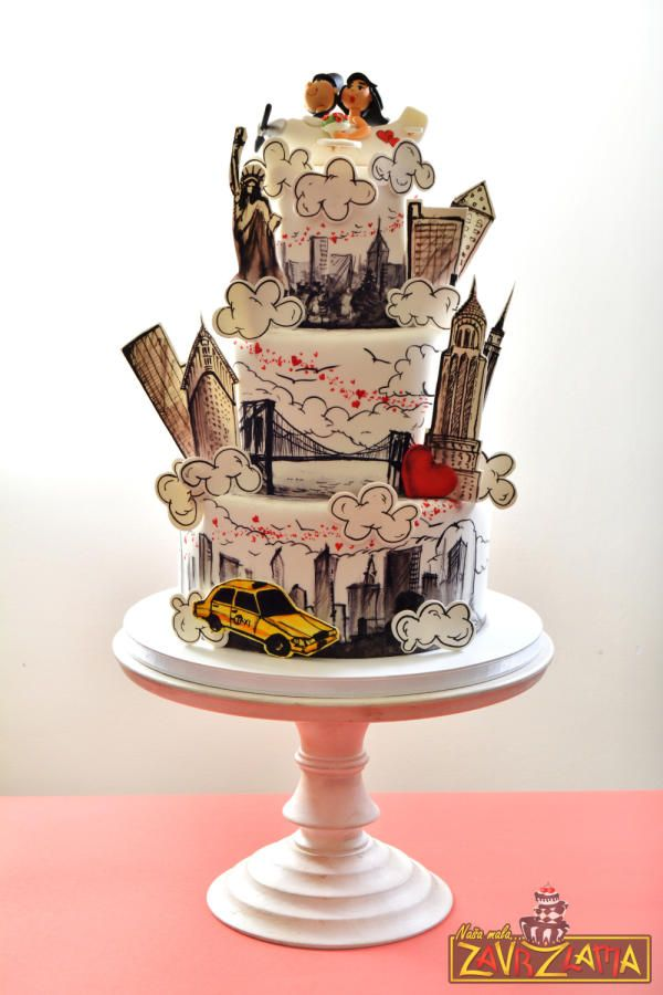 New York Wedding Cake by Nasa Mala Zavrzlama - http://cakesdecor.com/cakes/223203-new-york-wedding-cake