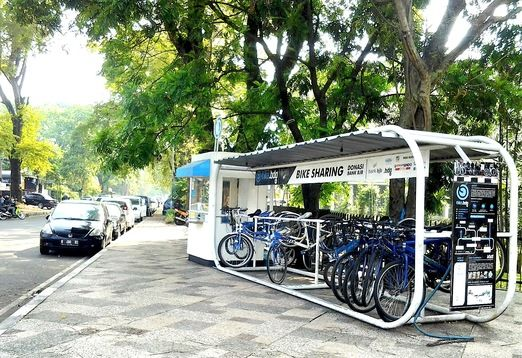 Sharing: A bike rental booth on Jl Dipati Ukur in Bandung offers an array of bicycles from mountain bikes, and folded bikes, to city bikes and kids' bikes to encourage residents and visitors to bike to work or around the city on Fridays, an initiative of newly elected Bandung Mayor Ridwan Kamil. Posted October 2013 #cycling #Bandung #Indonesia
