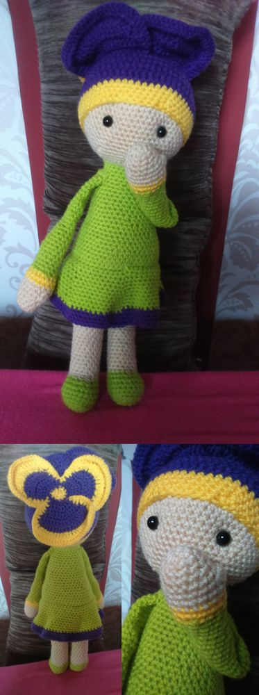 Violet Vicky flower doll made by Renata O - crochet pattern by Zabbez