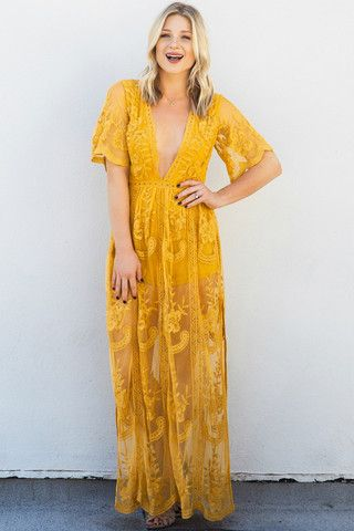 Best 25 mustard yellow ideas on pinterest mustard for Lace maxi wedding dress