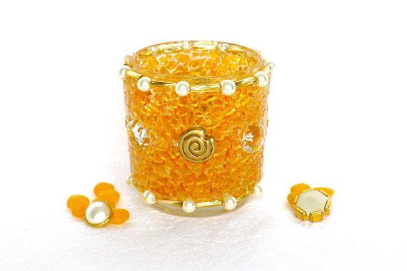 Tealight candle holder, glass tealight, small lantern, home decor orange, mosaic art, candleholder, tealight holder, gift women