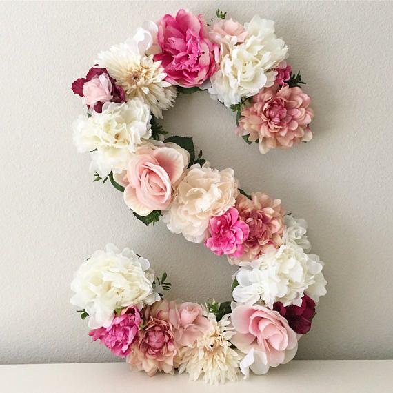 Blumen Brief Monogramm, Blumen Brief, Blumen Monogramm Brief, Kinderzimmer Brief, Floral Initiale, Letter Art, Letter Nursery, Floral Nursery   – düğün planlama