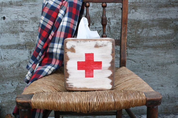 FREE SHIP Rustic Distressed Red Cross First Aid Wood Tissue Box Holder by TheUnpolishedBarn on Etsy https://www.etsy.com/listing/178615590/free-ship-rustic-distressed-red-cross