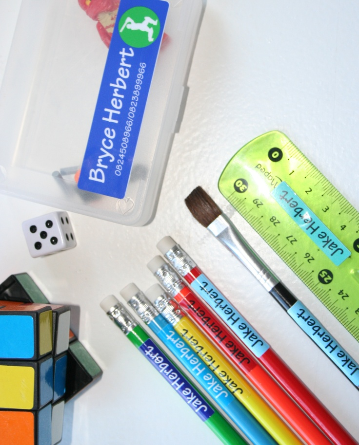 Label all your stationery with pencil labels and vinyl labels available from online store www.kidslabels.co.za