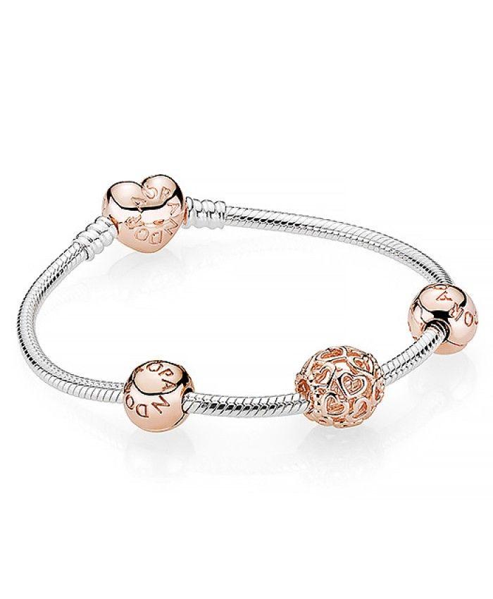 Pandora Rose Coeur ajouré Charm Bracelet | Bracelet pandora rose ...