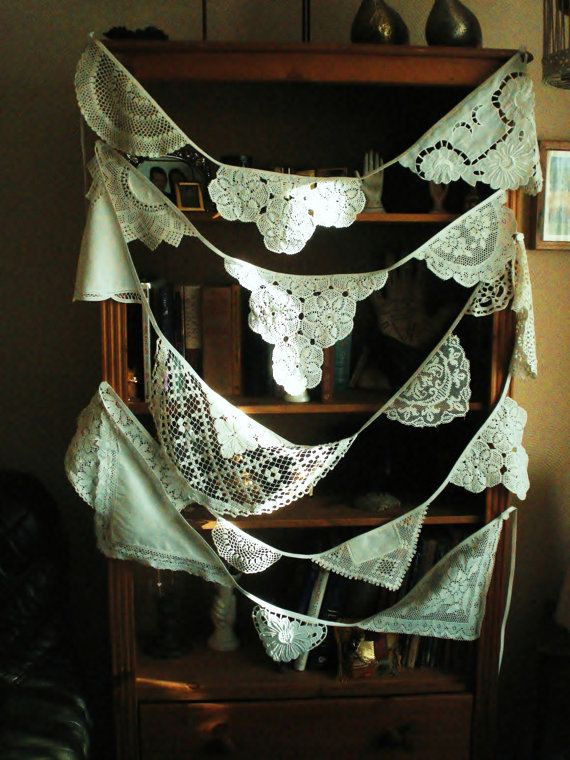 Eco Wedding,Shabby Chic Vintage English Lace Doily, Linens Garland,Bunting Flags.Banner,Wedding,Christening.Decoration.FREE SHIPPING
