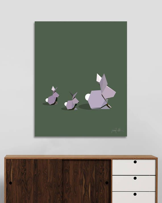 "Rabbit art print Bunny nursery art Green artwork Origami art USE THE CODE ""PINTEREST"" TO RECEIVE 30% OFF!"