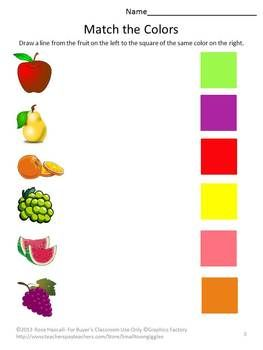 Fruit and Vegetable Worksheet Set-students identify fruits from vegetables