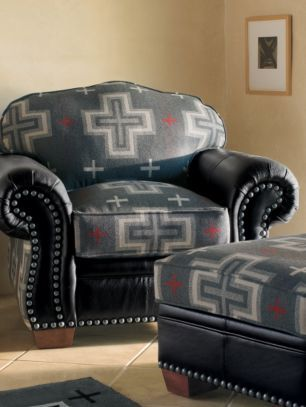 Delicieux Idea   Recover Red Leather Chair U0026 Ottoman With Pendleton