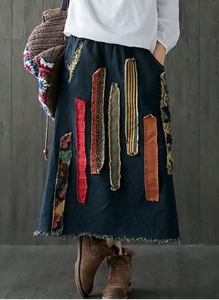 Cotton Blends Stripe Maxi Vintage Embroidery Skirts