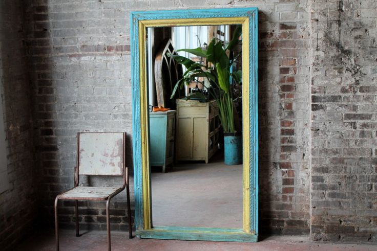 Floor Mirror Antique Indian Architectural Elements Blue and Yellow Boho Global Indian Full Length Mirror Moroccan Mirror Mediterranean