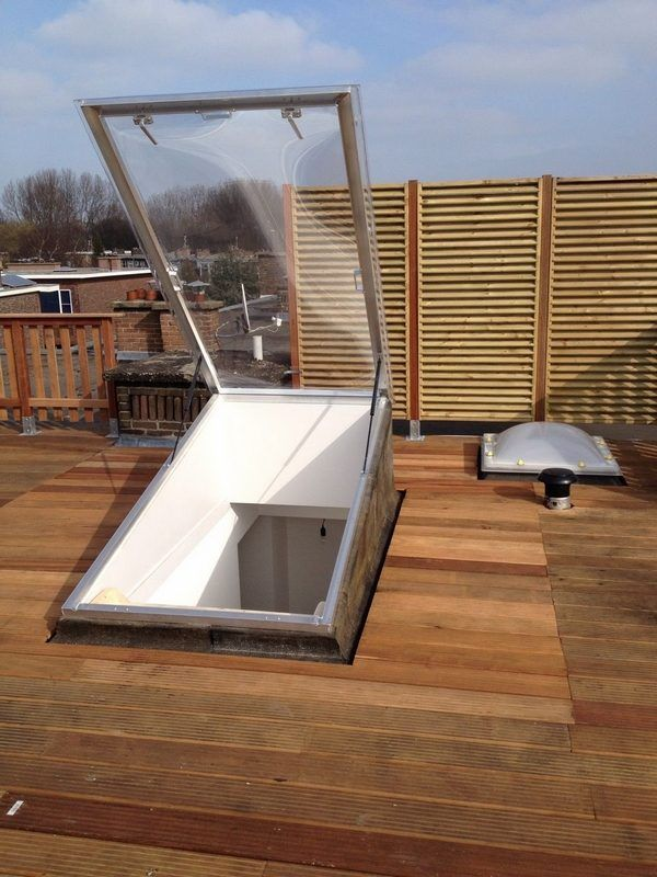 Roof Top Deck Ideas Roof Hatch With Ladder Roof Access Ideas In 2020 Roof Hatch Skylight Installation House Window