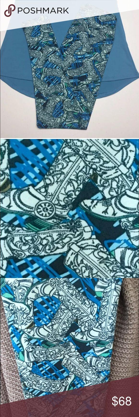 OS LulaRoe turquoise cowboy boots Unicorn Leggings Brand new OS LulaRoe Cowboy Boots leggings. From a non smoking home. LuLaRoe Pants Leggings