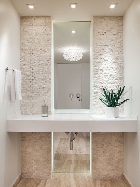 Appealing Powder Room With Stone Basins: Contemporary Powder Room Layout With Mirror Behind Stacked Stone Backsplash Entire Wall And Simple Pot Light Plus Stone Tile Wall ~ frashii.com Interior Design Inspiration