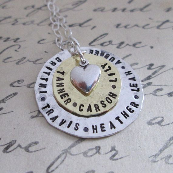 Grandmother Jewelry - Circled In Love -  hand stamped necklace - personalized jewelry