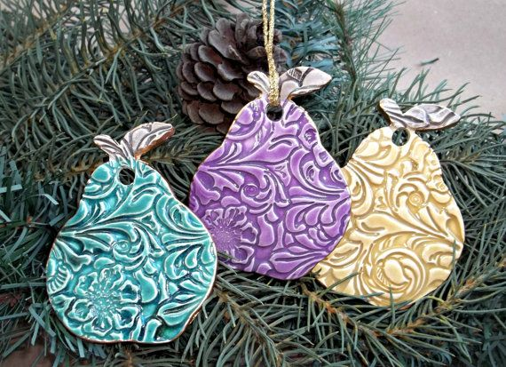 THREE Ceramic Pear Christmas Holiday Ornaments by dgordon on Etsy