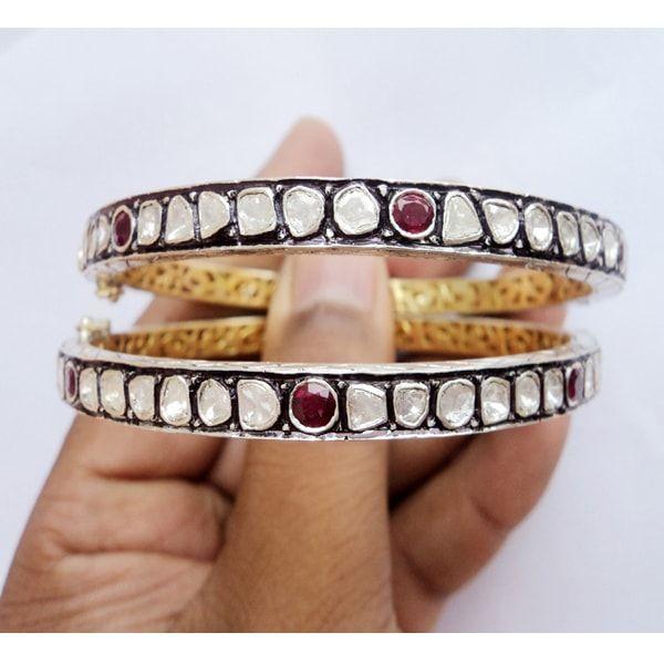 Diamond Polki Wedding Ruby Bracelet