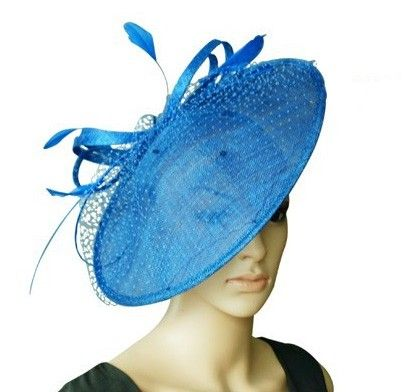 "Penelope"" Large Royal Blue Wide Rimmed Fascinator Hat. A smooth wide rimmed hat with delicate molding over the crown and finished with a stunning arrangement of sinamay curls and veil cover. Available in a range of colours! $89.95 including gift box and FREE shipping in Australia."