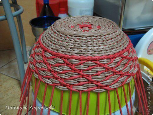 Поделка изделие День рождения Плетение Хлебница-трансформер Трубочки бумажные фото 2