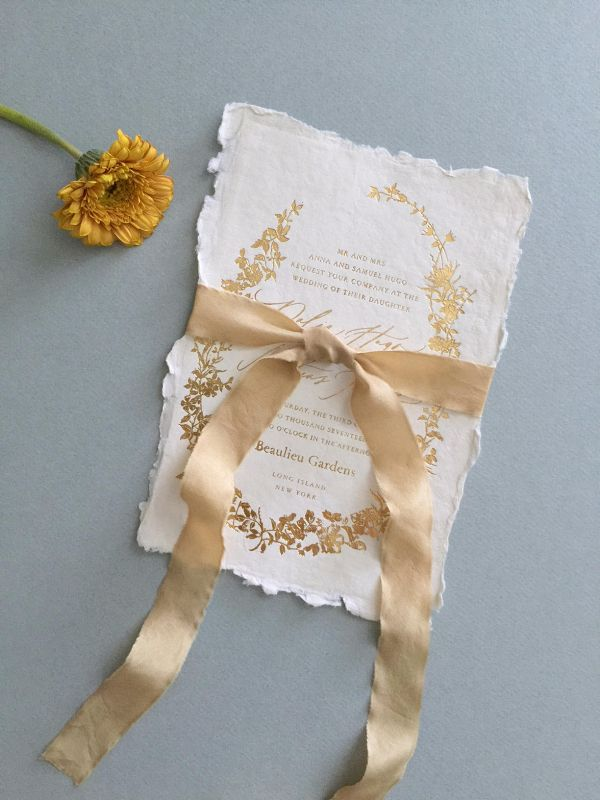 Gold Foil Wedding Invitation #ad Hand-dyed gold silk ribbon