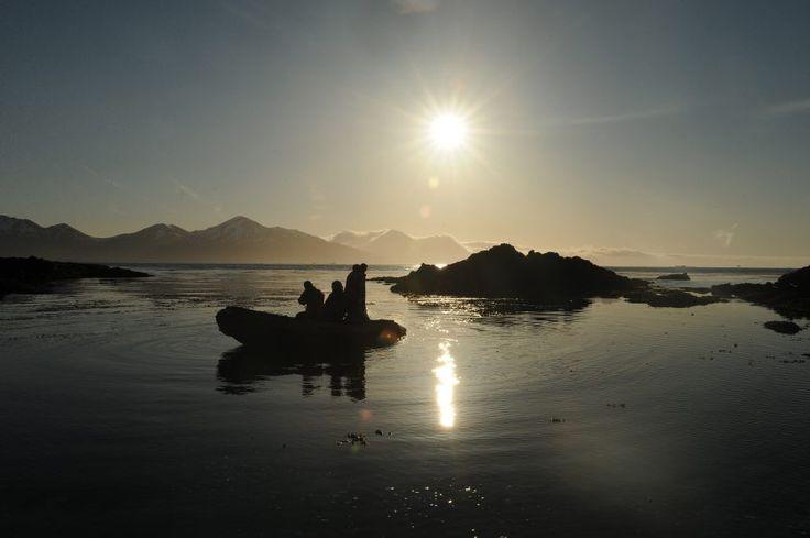 R/V Tiglax biologist cruising the beach on Attu Island in the Aleutian Chain