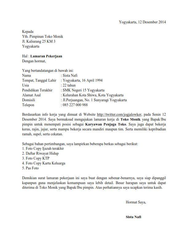 Contoh Surat Lamaran Kerja Karyawan Toko