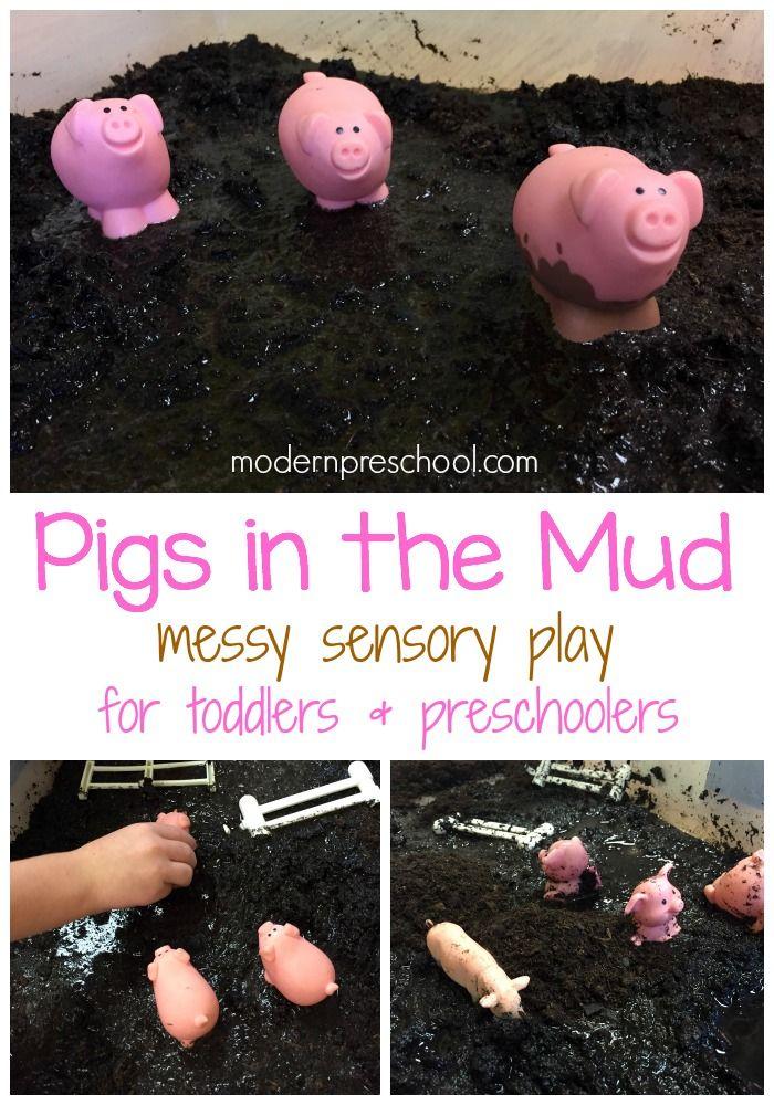 Simple pigs in the mud messy sensory play for toddlers & preschoolers - Modern Preschool