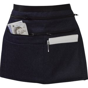 Cotton Denim Money Apron With Zip Pockets - £7.95 Denim money apron with 6 pockets, four of which are zipped is ideal for use in markets, car boots, fetes, bars and bistros by waiters and waitresses, it also has an adjustable belt with easy release clip and is available in packs of 1 or 5