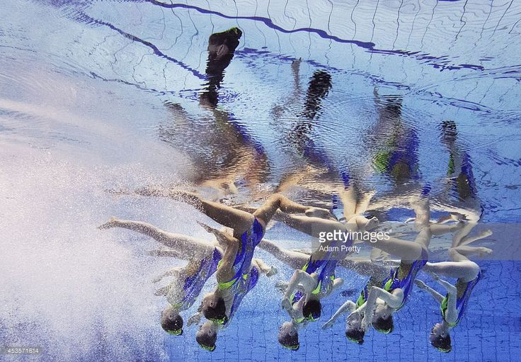 Great Britain perform their routine during the Womens Team Technical Synchronised Swimming Competition at Europa-Sportpark on August 13, 2014 in Berlin, Germany.