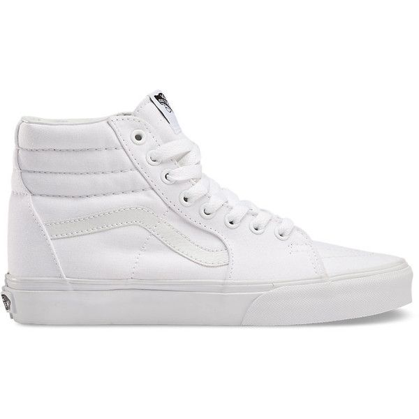 Sk8-Hi ($60) ❤ liked on Polyvore featuring shoes, sneakers, vans, trainers, true white, hi tops, lacing sneakers, white high top shoes, white sneakers and high top trainers